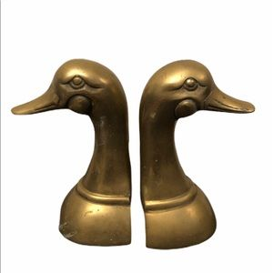 "Vintage MCM brass duck head bookends 6.5"" mallard"